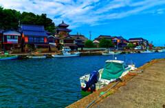 玉江漁港と観音院  (萩市 藍場川)