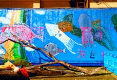 港の片隅で見つけた壁絵 (山口県 阿武町 )