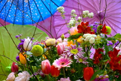 和傘と春の花