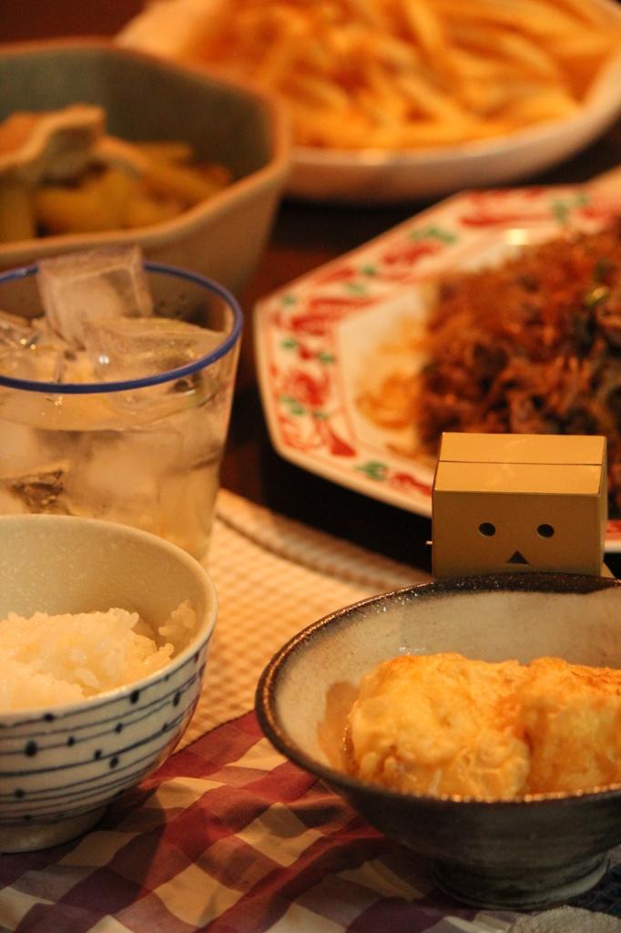ふきのたいたんと揚げ出し豆腐のばんごはん
