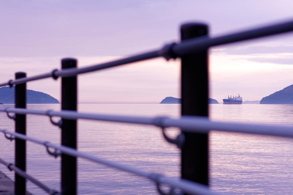 柵越しの海