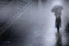霧雨に濡れる街角