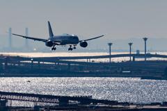 冬の羽田空港とアクアライン
