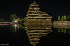 国宝松本城の映り込み