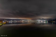 諏訪湖の夜明け前