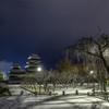雪の朝の松本城1