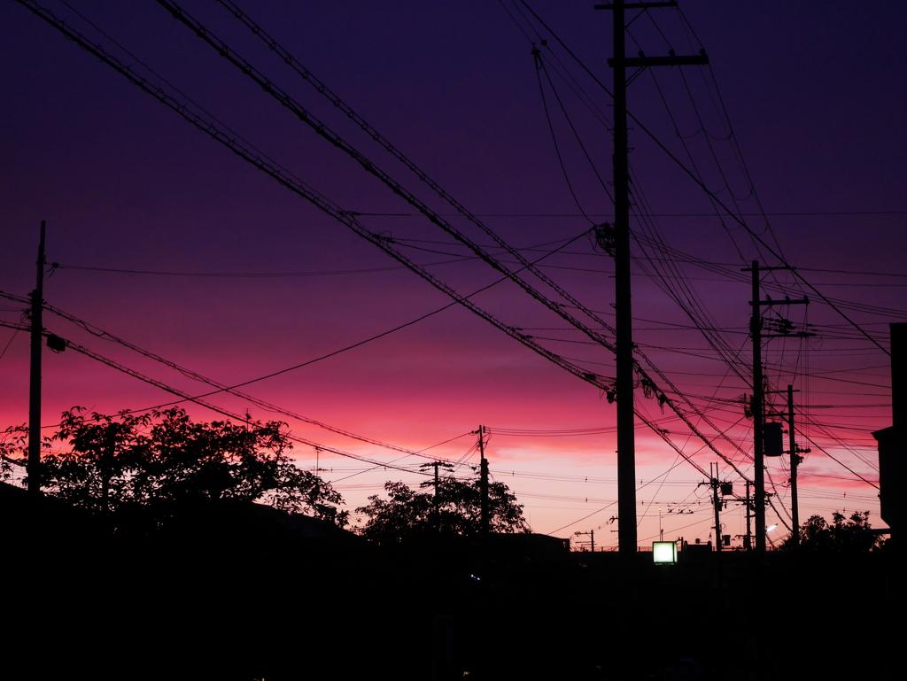 町の夕焼け