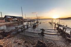 牡蛎小屋の朝