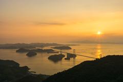 来島海峡の夕焼け