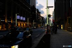 灯りがともり始める日本橋