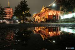 雨上がり夜の浅草寺3