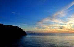 神津島 前浜海岸からの夕焼け