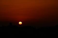 都会の夕陽
