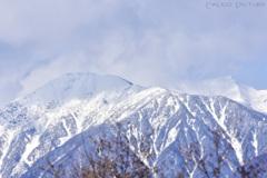 雪煙る南アルプス