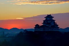 姫路城 日の出 残念