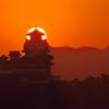 姫路城と朝日