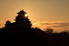 姫路城からの日の出