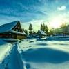 夕照の雪路