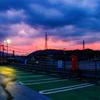 夕立ち後の屋上駐車場