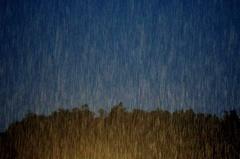 夜の雨 (広重調)東海道五十三次庄野の雨ふう