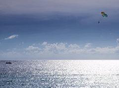 輝く海でパラセーリング