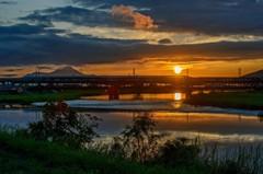 いつもの鉄橋の夕景 1