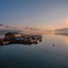 朝霧の羊角湾と真珠養殖棚 2