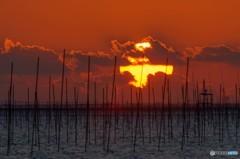 海辺の夕景(グリーンフラッシュ?)