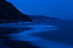 夜明け前の月入り風景 3完(天草市の西海岸)