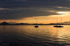 ☆琵琶湖...ヨットのある朝景