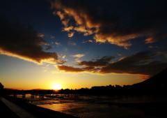 京都嵐山 渡月橋の日の出