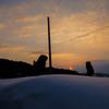 狛犬と夕日