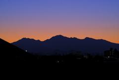 黄昏の大山連山