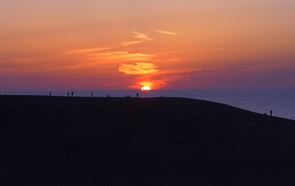 鳥取砂丘夕暮れ
