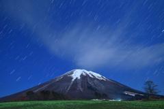 月夜の新雪大山