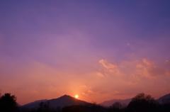 青空と夕日