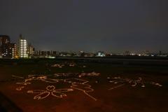丸子橋の蝋燭アート