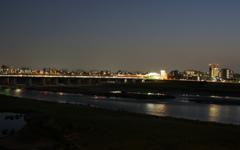 二子玉川夜景の多摩川