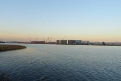 川崎港から見えた羽田空港のクレーン