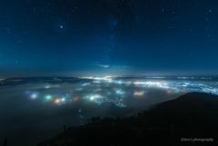 色付きの雲海に出会えた夜