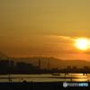 落日と冨士と川