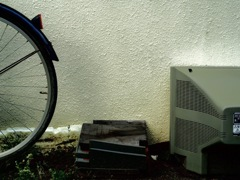 bicycle,roof tile and TV