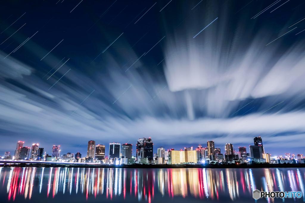 淀川の星空軌跡2020