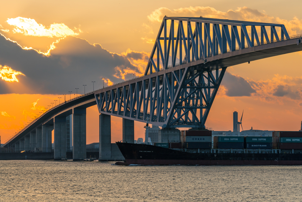 ゲートブリッジと貨物船