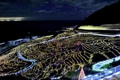 白米千枚田のイルミネーションの写真
