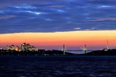 内灘大橋 夕焼けと雲