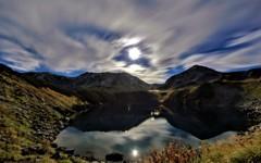 月の立山とみくりが池