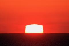 白米千枚田の四角い夕日