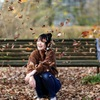 meruと枯葉とベンチ