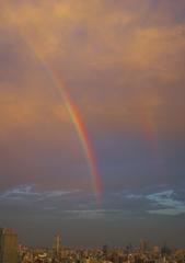 夕暮れどき・・・虹。